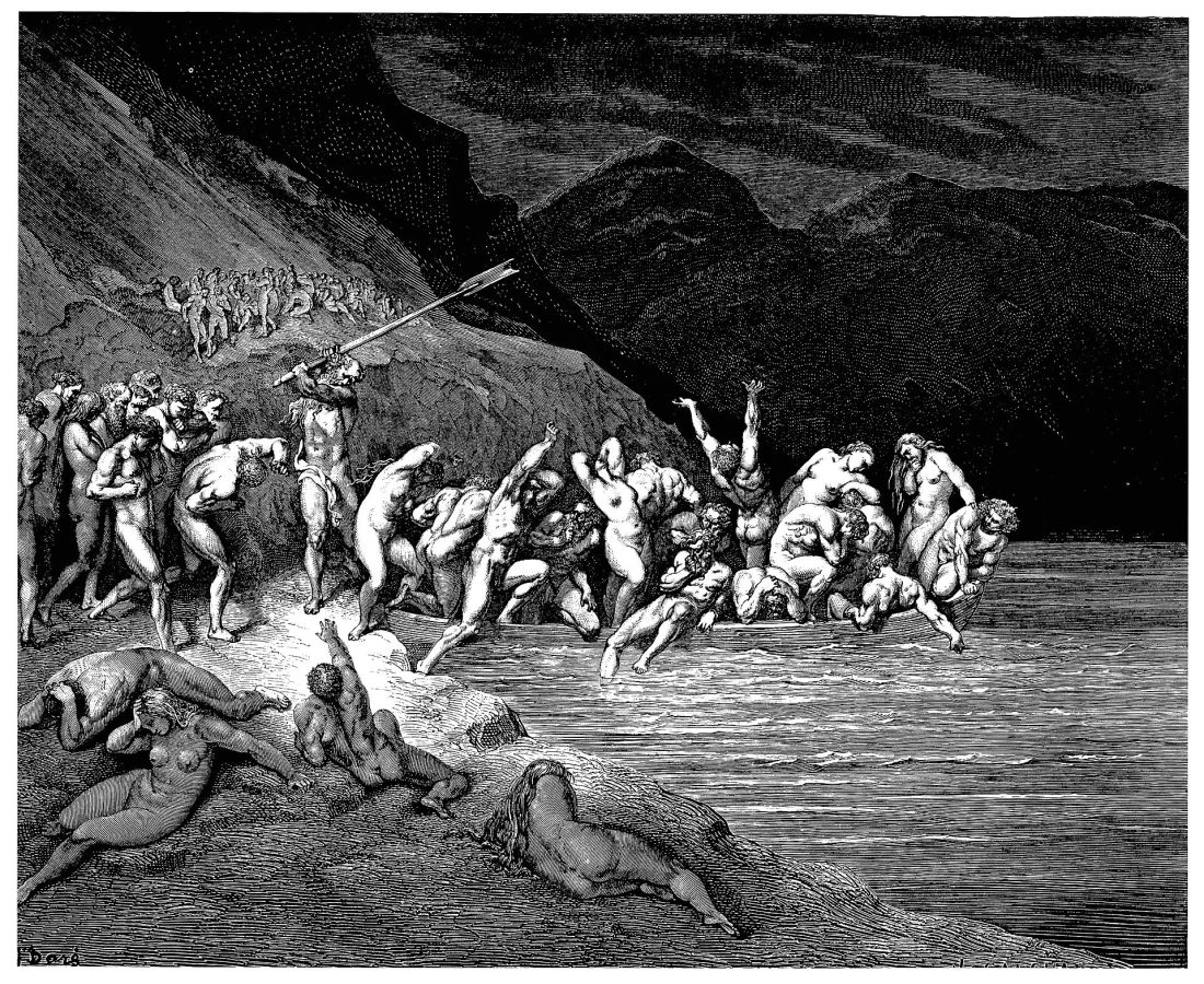 In the Divine Comedy, Charon forces reluctant sinners onto his boat by beating them with his oar. (Gustave Doré, 1857).