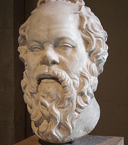 A marble head of Socrates in the Louvre