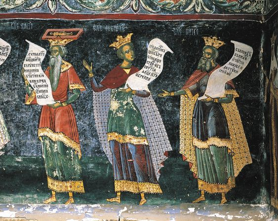 Plato, Pythagoras, and Solon; fresco in St. George's Church, Suceava, Romania, sixteenth century